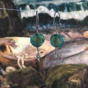 120: Gold/Blue Venetian Earrings Sterling Silver